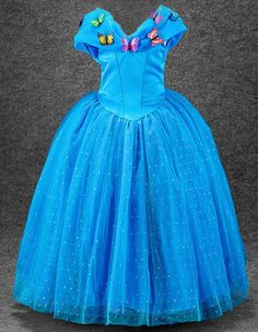 Gender: Female Age Group: Kids Color: Blue Pattern: Fairy Tale Material: Cotton + Polyester New Cinderella Gown Fancy Dress Princess Kids Girls Halloween Costume.Welcome to choose your favorite childr