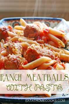 15 minute meal: ranch meatballs and pasta Pasta Recipes, Beef Recipes, Dinner Recipes, Cooking Recipes, Healthy Recipes, Cooking Ideas, Cooking Tools, Healthy Meals, Chicken Recipes