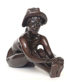 Sculpture: 'Anya with Hat (Little Nude Bronze Girl statuette or Figurine)' by sculptor Tom Greenshields in Sculptures of females - Garden Sc...