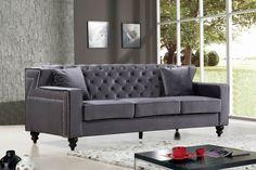 Meridian Harley Grey Velvet Sofa - 616Grey-S