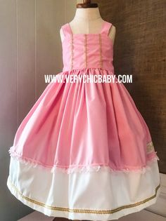 This custom Sleeping Beauty Princess dress has flair, a full skirt for twirling, and lots of important attention to details. The versatile style makes it great for summer yet will take you into fall and winter with a few layering pieces. The bodice is fully lined with a coordinating fabric. The