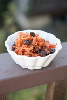 Clean Eating Sweet Carrot & Raisin Salad...juice of an orange, little freshly grated ginger, pinch of salt, little cinnamon and then of course- carrots and raisins. To see if this is better than when we use v. yogurt, walnuts, carrots and raisins