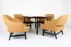 In the store: Harvey Probber game table and chairs Game Table And Chairs, Table Games, Dining Chairs, Modern Game Tables, Curved Desk, Palm Springs Houses, Florida Home, Game Room, Mid-century Modern