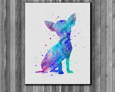 Dog watercolor Chihuahua  Art Print instant by digitalaquamarine