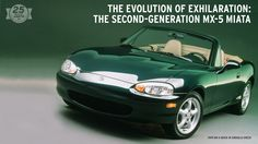 """Sequels often go wrong—here's one of the few that got it right. Introduced a decade after the original, the second-gen MX-5 Miata came with a few changes, but overall remained true to the original concept: """"a lightweight, affordable two-seat roadster that delivers the pure enjoyment of wind-in-the-hair driving,"""" as a Mazda press release put it. #25DaysOfMX5"""