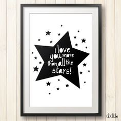 Kids poster, kids love quote, typography poster, black and white, kids room decor by Dodlido on Etsy