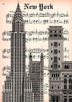 CARNEGIE HALL  print poster mixed media painting by artretro