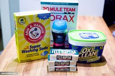 Dry Laundry Detergent & softender in one. 1 box borax, 1 box A4m & Hammer Super Washing Soda, 1 3lb container oxyclean, 3 bars fels naptha, 1 4lb box Arm & Hammer Baking Soda, 1 container Downy Unstoppables