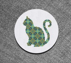 Cross Stitch Pattern Cat with Ornament Instant Download