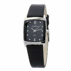 Skagen Women's Black Dial Swarovski Elements Black Leather Band Watch Skagen Watches, Women's Watches, Amazing Watches, Leather Watch Bands, Fashion Watches, Apple Watch, Swarovski, Quartz, Black Leather