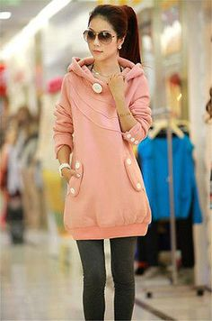 Kawaii Pink Blush Long Sleeve Hoodie Sweater Sweatshirt Dress Pullover Pockets  | eBay