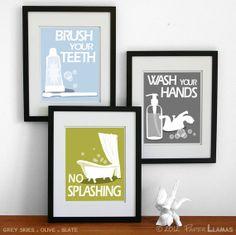 Kids Bathroom Art Prints Wash Your Hands Brush Your por PaperLlamas