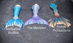 Silicone mermaid tails belonging to Mermaid Hyli! Merbella Studios, The Mertailor & Finfolk productions