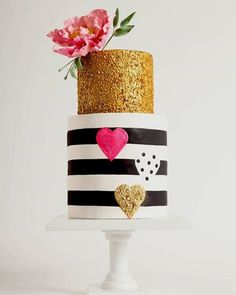 Black Stripes & Colorful Hearts Tiered Cake