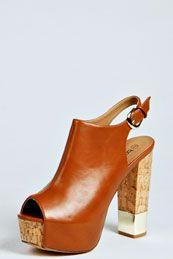 Annie Peep Toe Open Back Cork Platform Heels