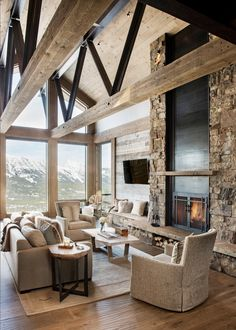Cottage Living Rooms, Cottage Interiors, Home Living Room, Rustic Modern Living Room, Mountain Home Interiors, Rustic Home Interiors, Modern Cabin Decor, Modern Lodge, Modern Rustic Homes