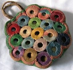 PieceWork celebrates the rich history of needlework and makers from around the globe. Whether you knit, crochet, embroider, or tat, find inspiration in the needlework traditions of the past. Crochet Coin Purse, Crochet Tote, Crochet Handbags, Crochet Purses, Knit Crochet, Crochet Earrings, Crochet Books, Crochet Flower, Free Crochet