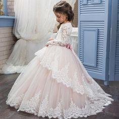 Long Sleeve Flower Girl Dress with Crystal Applique Belt