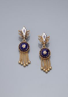 TIME FOR ELEGANCE Victorian-Style Enamel Drop Earrings