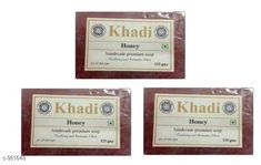 Body KHADI HONEY SOAP PACK OF 3  *Product Name* Khadi Pure Honey Bath Soap Soap  *Product Type* Soap  *Capacity* 125 gm Each  *Key Features & Benefits* They have great scent and made from mild glycerine such that your skin will feel smooth & silky after using. It has refreshing astrigent qualities which will give suprior conditioning & moisturizing lather.  *Flavor* Pure Honey  *Description* It Has 3 Pack Of Hand Made Soap  *Sizes Available* Free Size *   Catalog Rating: ★4.2 (621)  Catalog Name: Khadi Handmade Soap Vol 4 CatalogID_113712 C52-SC1272 Code: 291-961648-