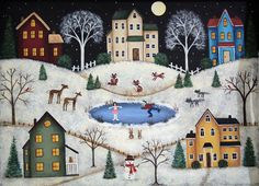 Winter Folk Art Painting Wood Tray with Snowy by RavensBendFolkArt