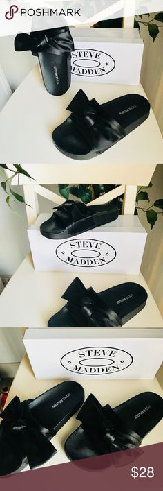 Steve Madden Silky Bow Slides Black Black Steve Madden Bow Silky Slides in great condition. Super comfortable, comes with original box. Steve Madden Shoes Sandals