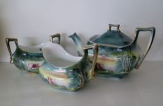 Royal Bayreuth 3 piece set including teapot, cream and sugar, blue mark, cattle scene