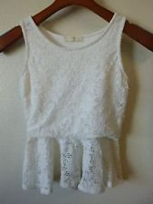 (Girls M 10/12) Soprano Sleeveless White Lace Peplum Tank Top Shirt NWOT (B-68)