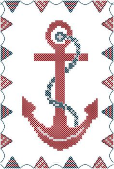 Cross Stitch Pattern Anchor with Bunting Border Red & Blue Nautical Theme Digital File Instant download.  Would like to make for my hubby.