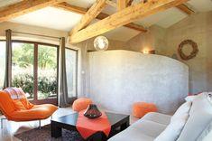 décoration salon fauteuil pouf couleu -orange