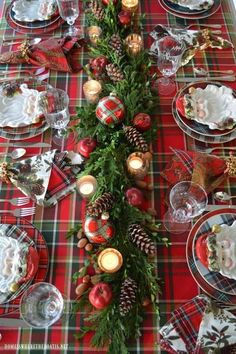 Plaid Tidings: Christmas Table with St. Nick and a Natural Evergreen Table Runne… Plaid Tidings: Christmas Table with St. Nick and a Natural Evergreen Table Runner Tartan Christmas, Christmas Runner, Christmas Table Settings, Christmas Tablescapes, Christmas Table Decorations, Decoration Table, Christmas Home, Christmas Holidays, Christmas Wreaths