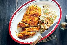 Matt Preston's easy recipe for homestyle version of chicken schnitzel is made even better thank to his delicious recipe for fresh coleslaw. Schnitzel Recipes, Chicken Schnitzel, Aussie Food, Australian Food, Australian Recipes, Real Food Recipes, Chicken Recipes, Yummy Food, Chicken Meals