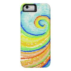 Rainbow Spiral to Happiness iPhone 6 Case, mobile design by artist Charles Bridge 7x, design for art lovers and artists