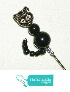 BLACK CAT w TAIL Stick Hat Pin Long Hatpin SILVER Plated CZECH GLASS PRESSED CAT HEAD from Art Jewelry For You https://www.amazon.com/dp/B015LJ3TIY/ref=hnd_sw_r_pi_dp_sx-0ybAC0CJC8 #handmadeatamazon