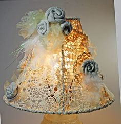 Shabby Handmade Lampshade Vintage Doilies OOAK | SweetSouthernVintage