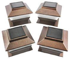 $35 Amazon.com: Set of 4 Bronze Finish Solar Power Light for 4 x 4 Deck & Post Cap: Home Improvement