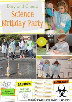 An entire FUN & CHEAP Science Birthday Party plan that I did for my 7-year-old's birthday party. This 1 hour and 30 minute plan is complete with a take-home gift idea, 3 science experiments, the easiest cake idea ever, decorating ideas, and printables. This was seriously one of the coolest birthday parties ever and anyone can pull it off with this plan!