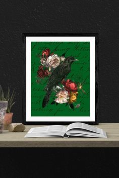This dark and brooding raven juxtaposed with the rich floral arrangement draws the eye. Creates a strong focal point for your space. Victorian Style Clothing, Goth Home Decor, Dramatic Arts, Gothic Aesthetic, Beautiful Houses Interior, Hunter Green, Pastel Goth, Stores, Raven
