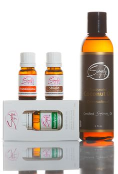 Simply Aroma -    Package Includes:     1- Shield 10mL  1 - Frankincense 10mL  1 - Eucalytus 10mL  1 -Fractioned Coconut Oil 6oz    (Retail Price $122.00)