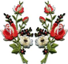 Black-amp-red-roses-pair-flowers-embroidered-appliques-iron-on-patches-new-S-1224