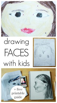Drawing Faces Tips Drawing Faces with Kids - plus a free printable guide to drawing the human face - Drawing faces for kids - Plus a free printable on Drawing the Human Face that can help as kids get older and want to draw more realistically. Drawing Lessons, Art Lessons, Drawing For Kids, Art For Kids, Projects For Kids, Art Projects, Drawing Faces, Drawings, Art Faces