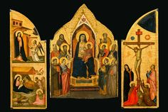Digital composite of: Taddeo Gaddi, Madonna and Child Enthroned with Ten Saints: Maestà with the inner shutters (sportelli) from a triptych: Annunciation and Nativity; Crucifixion, ca. 1330–34. Tempera, gesso, gold leaf and traces of silver on panel. New-York Historical Society, Gift of Thomas Jefferson Bryan; The Alana Collection