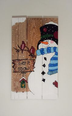 Let it Snow  Snowman Winter Pallet Sign