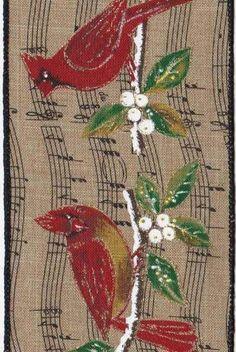 Linen Music Note Cardinals, Red/Natural
