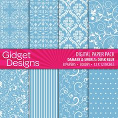 Digital Paper Pack Damask & Swirls Dusk Blue