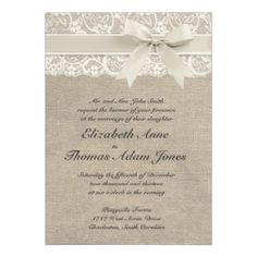 #3 - Vintage wedding invitation. Colors here are too dark but like the lace with silk bow and ribbon feel of it.