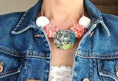 Fabric Flower Necklace Orange Teal by LaurensHandmadeGoods on Etsy  LOVE this handmade necklace!