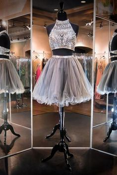 2 pieces prom dresses,Grey A-line High Neck Sleeveless Short/Mini Tulle Homecoming Dresses/Short Prom Dresses SH1189