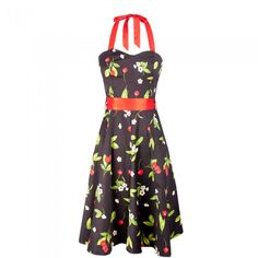 Stunning Black Dress with Cherry Design
