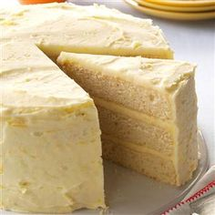 Lemon Orange Cake Recipe -I love to bake this lovely three-layer cake instead of a more traditional pie for Thanksgiving. It has that tangy Florida citrus flavor and isn't any more difficult to make than a two-layer cake. —Norma Poole, Auburndale, Florida